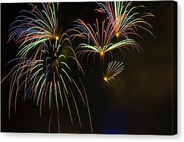 Fireworks Canvas Print - Fireworks In Sky During Fourth Of July by Panoramic Images