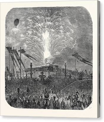 Fireworks In The Place De La Concorde Canvas Print by English School