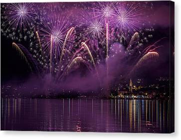 Fireworks Lake Pusiano Canvas Print by Roberto Marini