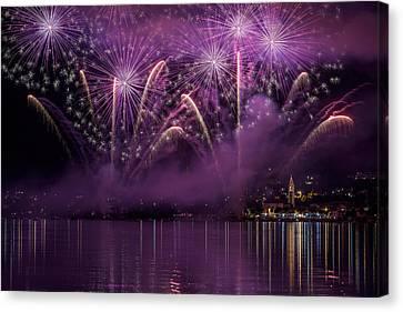 Fireworks Lake Pusiano Canvas Print