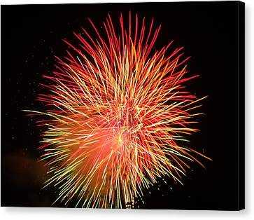 Canvas Print featuring the photograph Fireworks  by Michael Porchik