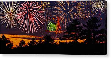 4th July Canvas Print - Fireworks No.1 by Mark Myhaver