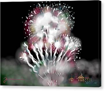 Fireworks On High School Hill Canvas Print