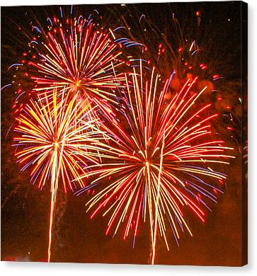 Canvas Print featuring the photograph Fireworks Orange And Yellow by Robert Hebert