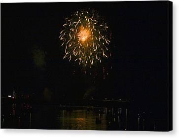 Fireworks Over Market Street Bridge Canvas Print by Gene Walls