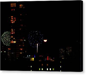 Canvas Print featuring the photograph Fireworks Over Miami Moon II by J Anthony