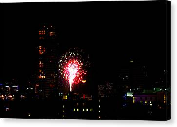 Canvas Print featuring the photograph Fireworks Over Miami Moon by J Anthony
