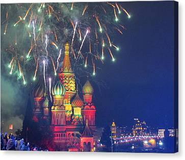 Fireworks Over Red Square Canvas Print by Michael Fitzpatrick