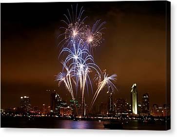 Fireworks Over San Diego Skyline Canvas Print by Jetson Nguyen