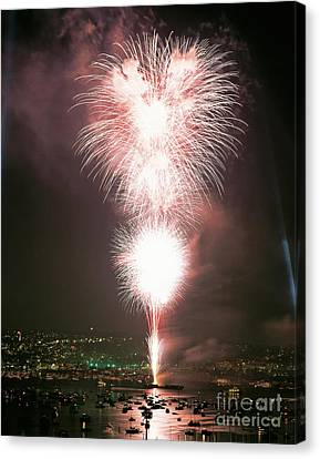 Pyrotechnic Canvas Print - Fireworks Over Seattle by Jim Corwin