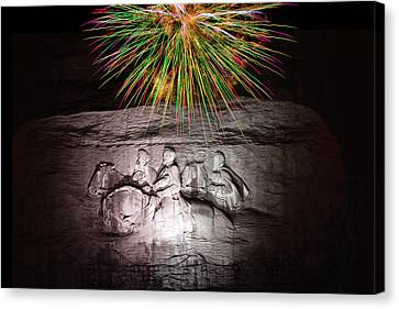 Fireworks Over Stone Mountain Canvas Print by Penny Lisowski