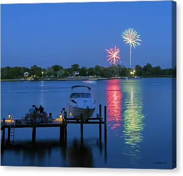 Fireworks Over Stony Creek Canvas Print by Brian Wallace