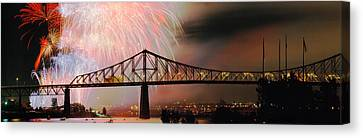 Fireworks Canvas Print - Fireworks Over The Jacques Cartier by Panoramic Images