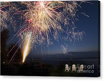 Fireworks Over The Lake Canvas Print by Twenty Two North Photography