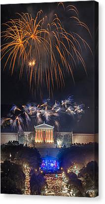 Fireworks Over The Parkway Canvas Print by Bruce Neumann