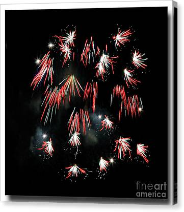 Canvas Print featuring the photograph Fireworks Squared by Chris Anderson
