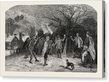 Apple Tree Canvas Print - Firing At The Apple Tree, In Devonshire, Uk by English School