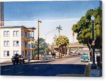 First Avenue In San Diego Canvas Print by Mary Helmreich