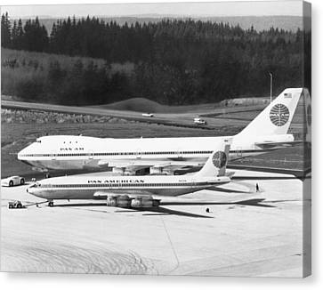 First Boeing 747 Canvas Print by Underwood Archives