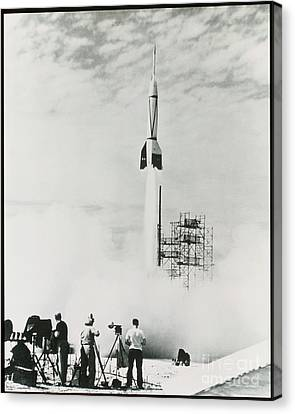 First Cape Canaveral Rocket Launch Canvas Print by NASA Science Source