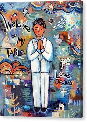 First Communion Boy Canvas Print by Jen Norton