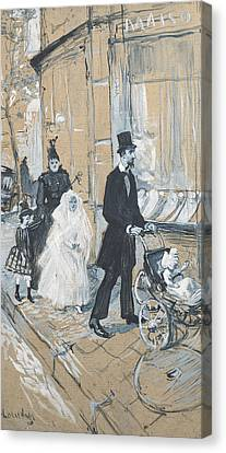 First Communion Day, 1888 Grisaille On Cardboard Canvas Print by Henri de Toulouse-Lautrec