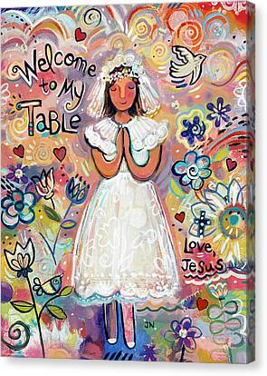 First Communion Girl Canvas Print by Jen Norton