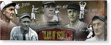 Mlb Canvas Print - First Five Baseball Hall Of Famers by Retro Images Archive