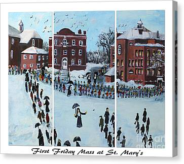 First Friday Mass At Saint  Mary's Canvas Print by Rita Brown