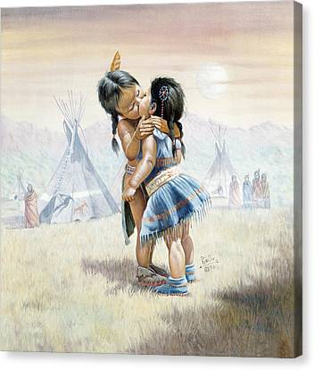 Braids Canvas Print - First Kiss by Gregory Perillo