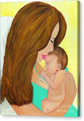 First Kiss- Mother And Newborn Baby Canvas Print by Shelia Kempf