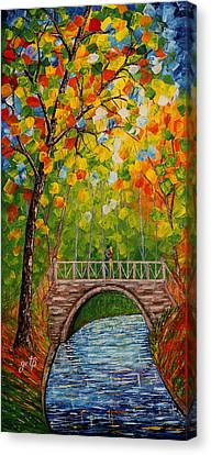 Canvas Print featuring the painting First Kiss On The Bridge Original Acrylic Palette Knife Painting by Georgeta Blanaru