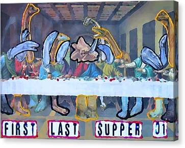 Canvas Print featuring the painting First Last Supper by Lisa Piper