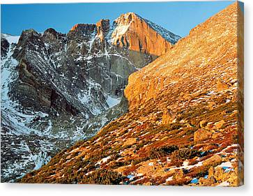 First Light At Longs Peak Canvas Print