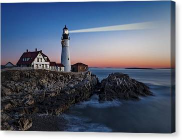 First Light At Portland Head Light Canvas Print by Susan Candelario