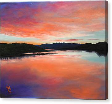 Canvas Print featuring the painting Arkansas River Sunrise by Glenn Beasley