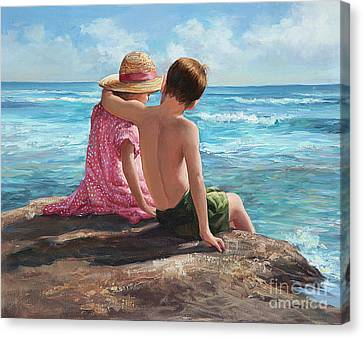 First Love By The Seashore Canvas Print by Laurie Hein