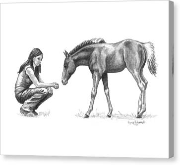First Love Girl With Horse Foal Canvas Print by Renee Forth-Fukumoto