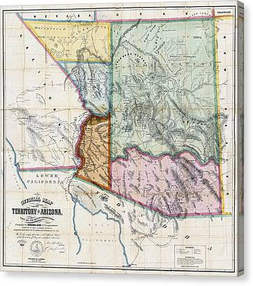First Map Of Arizona Territory  1865 Canvas Print by Daniel Hagerman