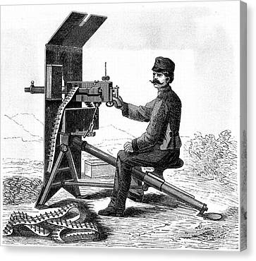 First Model Of Hiram Maxim's Machine Gun Canvas Print