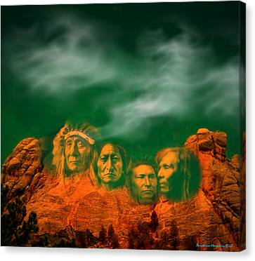 First Nations Chiefs In Mount Rushmore Canvas Print