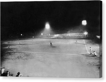 First Night Baseballl Game Canvas Print by Underwood Archives