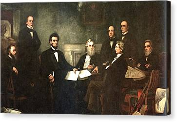 Slaves Canvas Print - First Reading Of The Emancipation Proclamation Of President Lincoln by Georgia Fowler