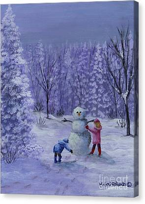 Canvas Print featuring the painting First Snow by Kristi Roberts