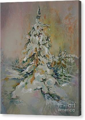 Canvas Print featuring the painting First Snow by Mary Haley-Rocks