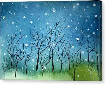 First Snow Canvas Print by Oiyee At Oystudio