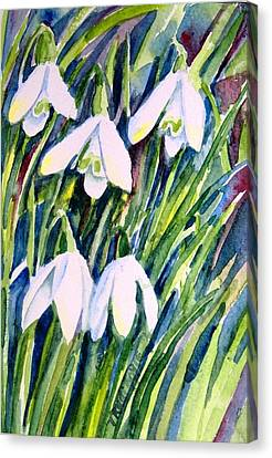Canvas Print featuring the painting First Snowdrops Of Winter  by Trudi Doyle