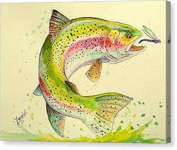 Salmon Canvas Print - Fish After Dragon by Yusniel Santos