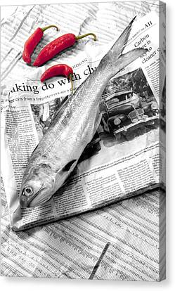 Fish And Chillies Canvas Print by William Voon