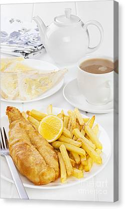 Fish And Chips Supper Canvas Print by Colin and Linda McKie